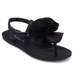 Flower Elastic Band Sandals - BLACK