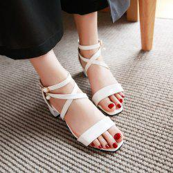 Faux Pearl Block Heels Sandals