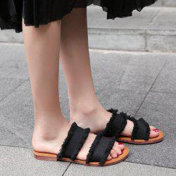 Flat Heel Denim Slippers - BLACK