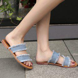 Flat Heel Denim Slippers
