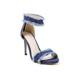Zipper Denim Stiletto Heel Sandals