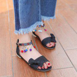 Denim Pompon Sandals