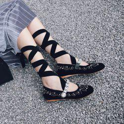 Rhinestones Velvet Lace Up Flat Shoes