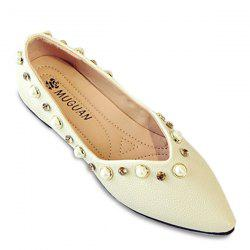 Rhinestones Faux Pearls Flat Shoes