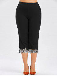 Plus Size Elastic Waist Cropped Pants - BLACK