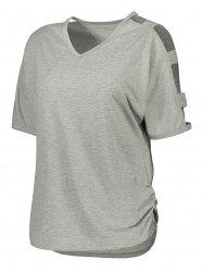 V Neck Ladder Cut Out Ruched Tee