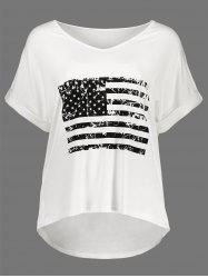High Low Patriotic American Flag Graphic Tee