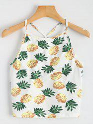 Pineapple Printed Cropped Tank Top