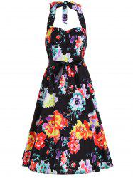 Flower Print Halter Belted Backless Flare Dress