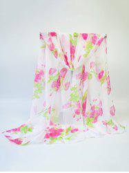 Chiffon Blooming Rose Printing Fine Gauze Scarf - ROSE RED