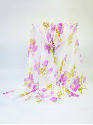 Chiffon Blooming Rose Printing Fine Gauze Scarf
