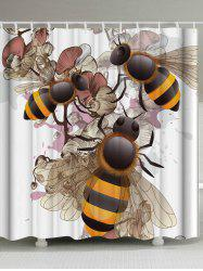 Unique Floral Bee Shower Curtain with Hooks