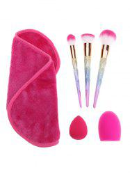 Rainbow Makeup Brushes Set Brush Egg Towel With Sponge Puff