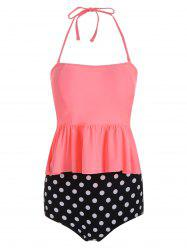 High Waisted Peplum Polka Dot Tankini Swimsuit