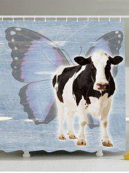 Cow Butterfly Waterproof Shower Curtain