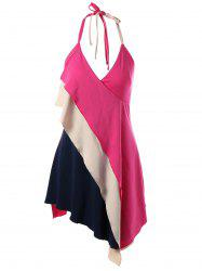 Color Block Asymmetrical Halter Tank Top