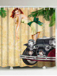 Vintage Girl and Car Fabric Shower Curtain