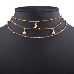 Alloy Beads Star Moon Chain Layered Necklace