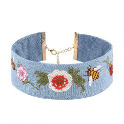 Denim Bee Flower Embroidery Choker Necklace