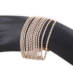 Multilayered Alloy Chain Rhinestone Bracelet