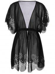 Tie Front Scalloped Plus Size Cover-Ups - BLACK