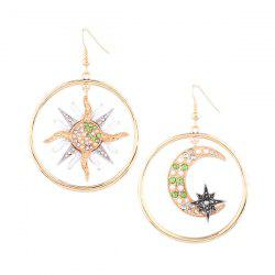 Rhinestone Star Sun Moon Circle Asymmetric Earrings