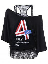 Lace Trim Funny 4th of July T-Shirts - BLACK 2XL