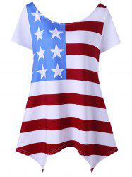 Asymmetric Patriotic American Flag Plus Size T-Shirt