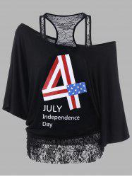 Lace Trim Plus Size Funny 4th of July T-Shirts
