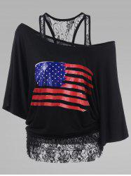 Lace Insert Plus Size American Flag T-Shirt