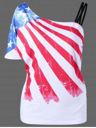 Plus Size Patriotic One Shoulder Distressed American Flag T-Shirt - WHITE