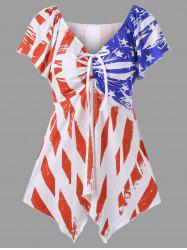 Bowtie Flag Print Plus Size Swing Top - WHITE