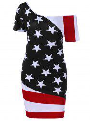 Patriotic Skew Neck Bodycon Plus Size American Flag  Dress - BLACK 3XL