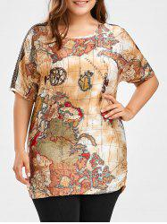 Map Printed Plus Size Tunic Top