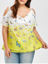 Butterfly Print Cold Shoulder Plus Size Top