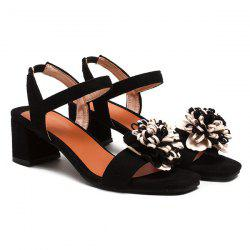 Flower Elastic Band Chunky Heel Sandals
