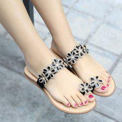 Rhinestone Flower Toe Ring Flat Slippers - BLACK