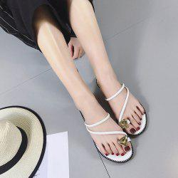 Rhinestone Toe Ring Slippers - WHITE