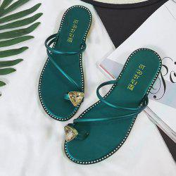 Rhinestone Toe Ring Slippers - BLACKISH GREEN