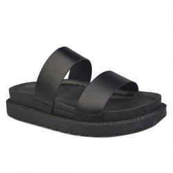 Faux Leather Platform Slippers - BLACK