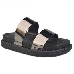 Faux Leather Platform Slippers