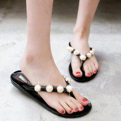 Flat Heel Artificial Pearls Slippers - BLACK