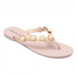 Flat Heel Artificial Pearls Slippers