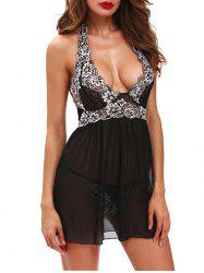 Halter Overlay Front Mesh Babydoll