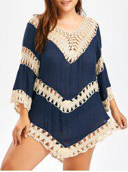 Plus Size Crochet Openwork Cover-Up - CERULEAN
