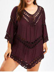Plus Size Crochet Openwork Cover-Up - WINE RED