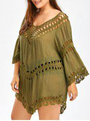 Plus Size Crochet Openwork Cover-Up