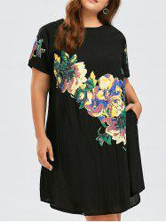 Flower Print Plus Size Baggy Dress - BLACK ONE SIZE