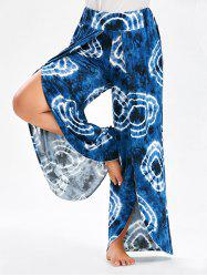 Bohemian Tie Dye Plus Size  High Slit Wide Leg Pants - PURPLISH BLUE