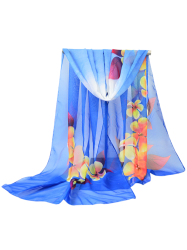 Chiffon Flowers Printed Gossamer Shawl Scarf - ROYAL